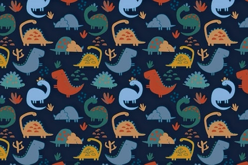 Brushed Back French Terry - Dinosaur Print
