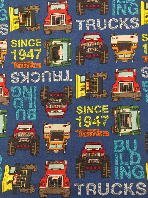 Quilting Cotton - Tonka Truck Print - Blue And Multi