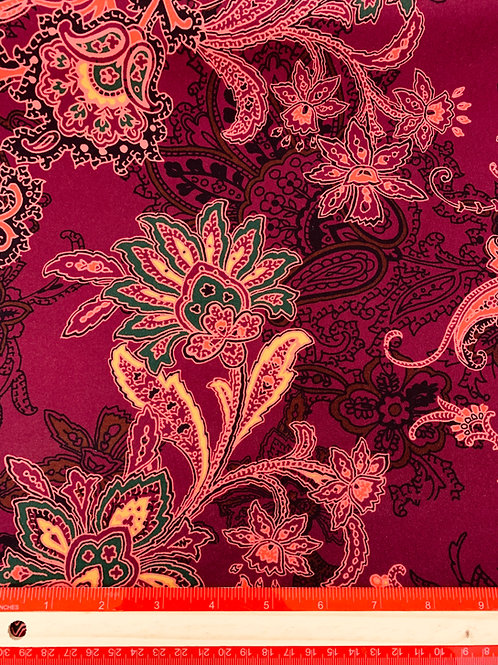 Dress Fabrics - Polyester Scuba - Wine And Gold Floral Print