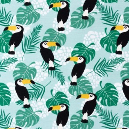 Cotton Jersey - Toucan Print - Green And Multi