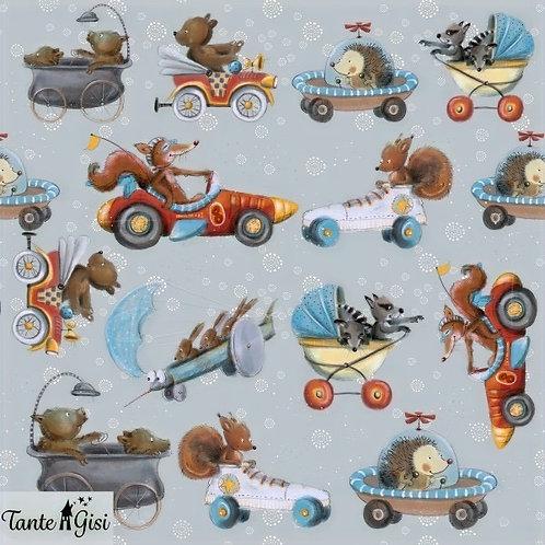 Lillestoff - Organic Cotton Summersweat Jersey - Animals In Toys - Multi