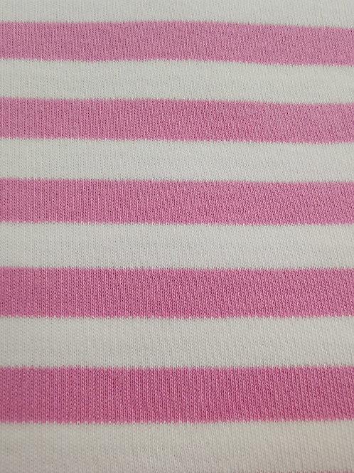 Organic Cotton Interlock - Striped - Pink And Cream  - 3.25 metres
