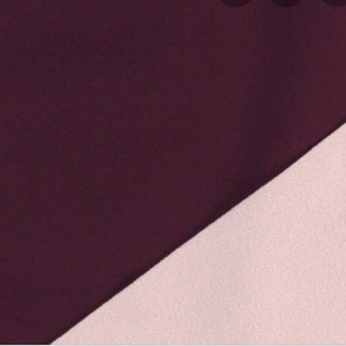Dress Fabric - Fleece backed Softshell - Maroon with Pale Pink