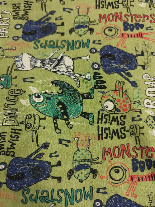 French Terry Loop Back Fabric - Green Monster Print