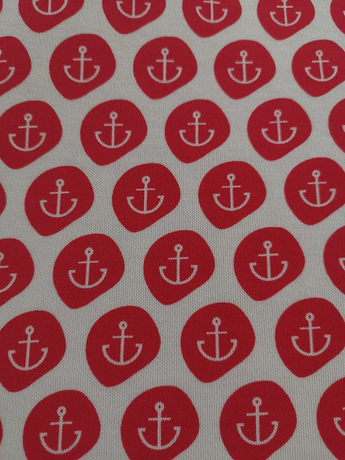 Organic Cotton Interlock - Anchor Print - Cream And Red  - 3.25 metres