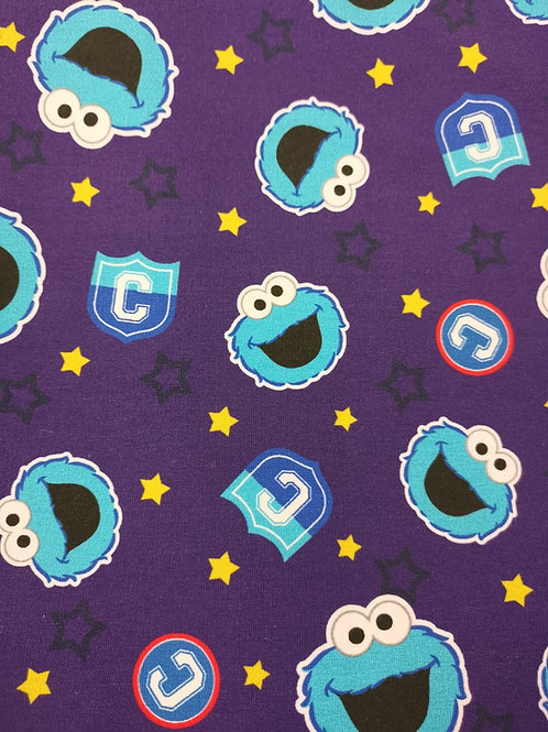 French Terry Brushed Back Cotton Lycra - cookie monster Print