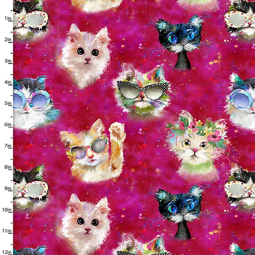 Quilting Cotton - Cat Print  - Pink And Multi