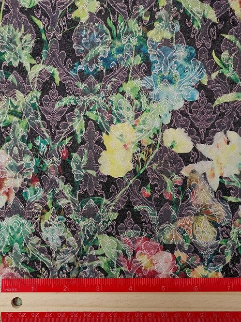 Dress Fabrics - Stretch Cotton - Textured Black Floral - OC 100/117