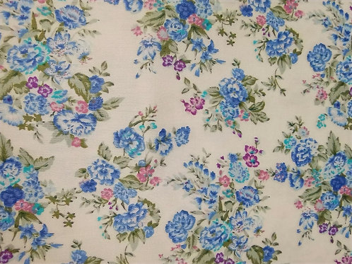 Dress Fabric- 100% Cotton - Floral - White, Blue And Multi