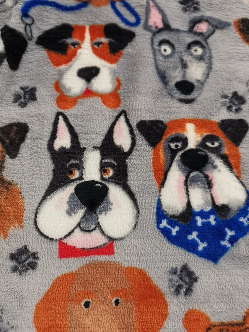 Dress Fabric - Cuddle Fleece - Dog Print - Grey And Multi