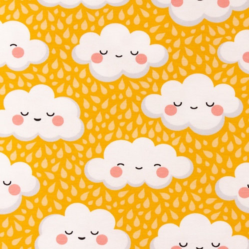 Cotton Jersey - Cloud Print - Yellow And Multi