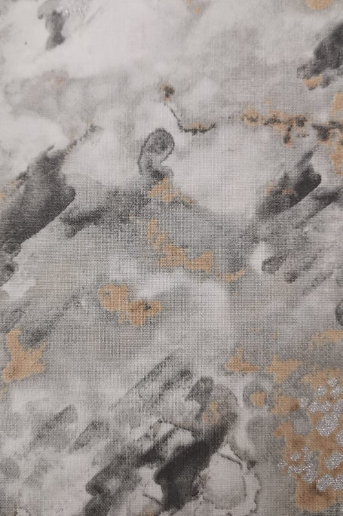 Quilting Cotton - Marble Effect Print  - Pale Grey And Multi
