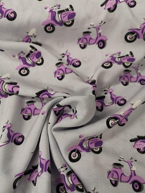 Dress Fabrics - 100% Viscose - Scooter Print - Pale Grey And Purple