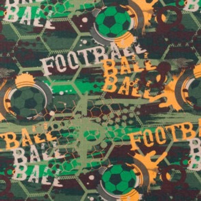 Cotton Jersey - Football Print - Green, Orange And Multi
