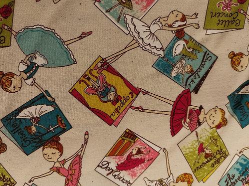REMNANT - Japanese Cotton - Ballerina Print - 1 Meter