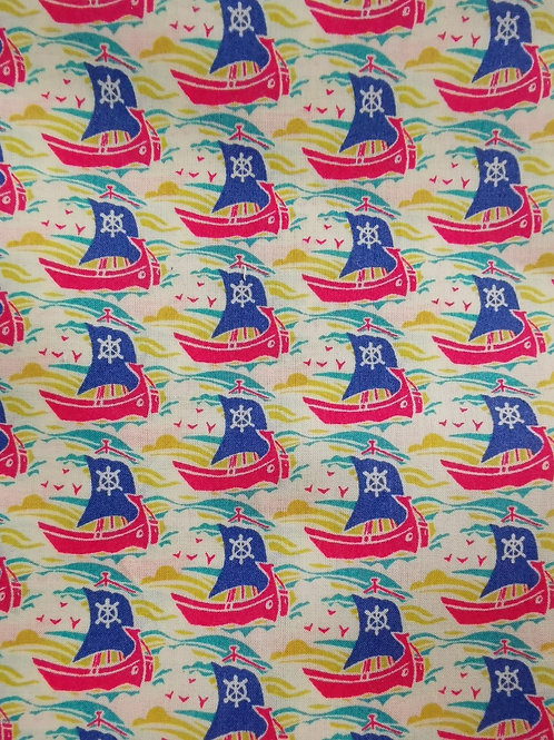 Remnant - Cotton Lawn - Viscose Jersey - Boat Print - 3 Meters