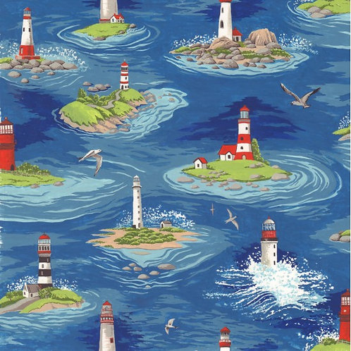 Quilting Cotton - Nutex - By The Sea - 11720 - 101 Lighthouse Blue