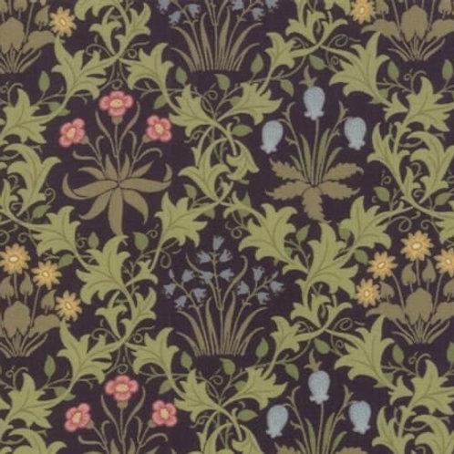 Moda - Quilting Cotton - May Morris Studio - Celandine - Navy And Multi - 1896