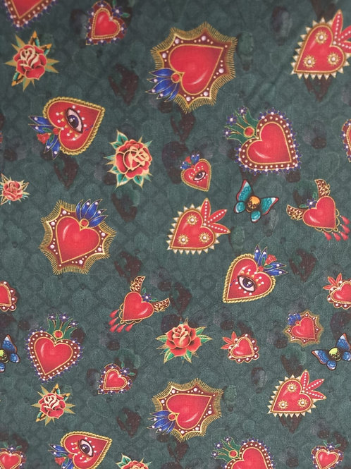 Quilting Cotton - Heart Print - Multi