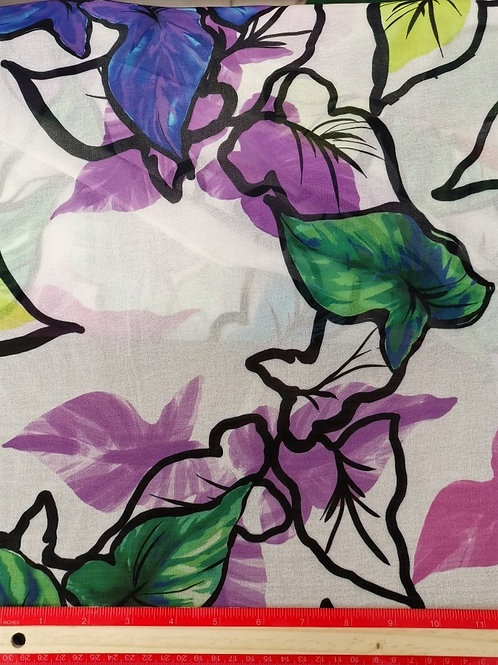 Dress Fabrics -  Polyester Chiffon - Ivory With Multi Leaf Print  - 100/138