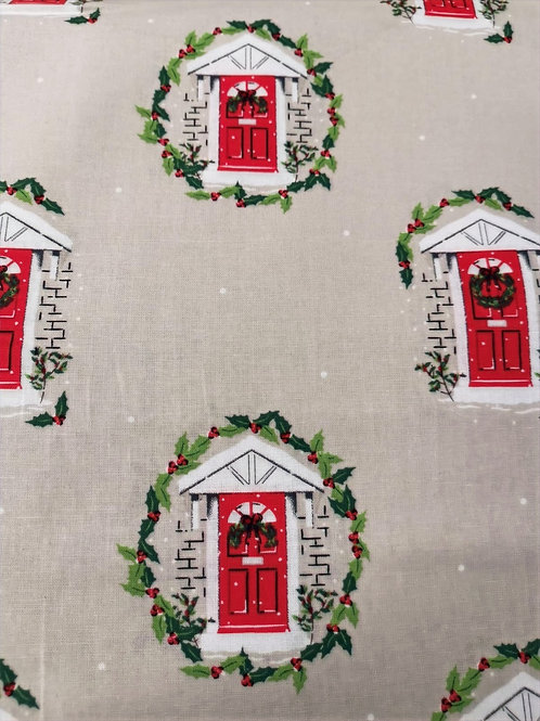 Quilting Cotton -  Christmas Front Doors - Beige And Multi