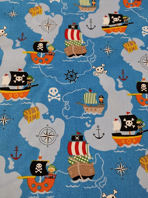 Walk the plank quilting Cotton by nutex - Blue And Multi