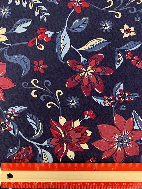 Dress Fabrics - Woven Stretch Cotton  - Navy And Wine Floral Print