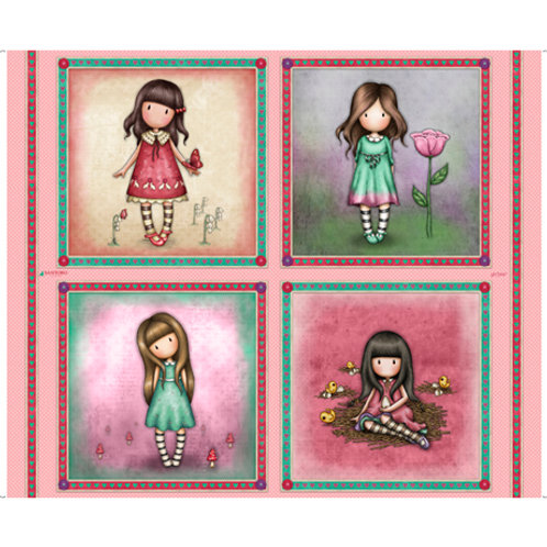 Quilting Treasures - Truly Gorjuss  - Large Picture Patches - Pink- 27794-P