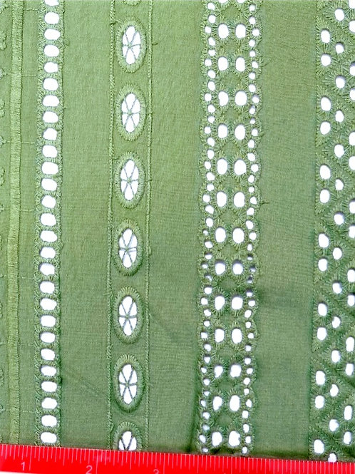 Dress Fabrics -  Borderie Anglais - Green Double Scalloped - 100/147