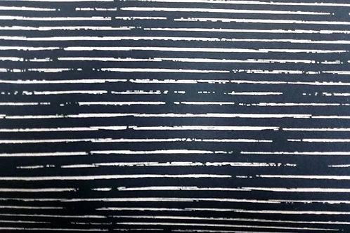 Cotton Jersey - Broken Stripes Print - Navy Blue