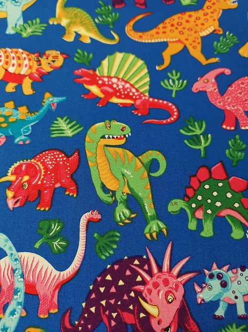 Quilting Cotton - Nutex - Dinosaur Dance - 87550 - 102 - Blue