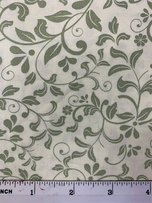 Quilting Cotton - John Louden - Ivory and Green