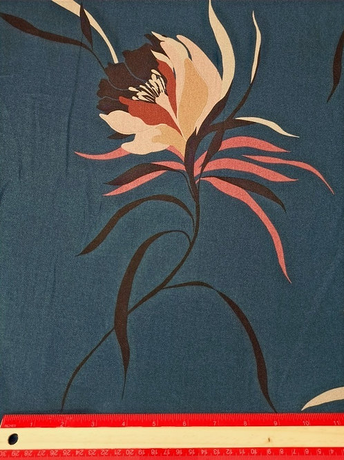 Dress Fabrics -  Woven Polyester - Teal Blue Large Floral  - 100/142
