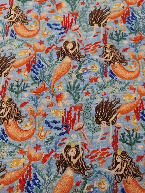 Windham fabrics - Mermaids quilting Cotton - Pale Blue And Multi