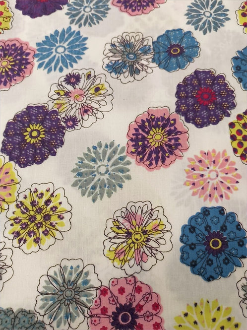 Dress Fabric- 100% Cotton - Floral - White, Lavendar And Multi