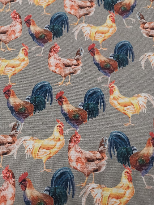 100% Cotton Canvas - Hen Print - Grey  And Multi
