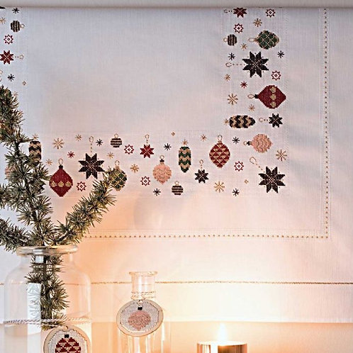 Rico Christmas Baubles Table Cloth Embroidery/Cross Stitch Kit
