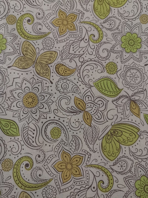 Sew mindful Lewis and irene  - Leaf Print - White And Multi