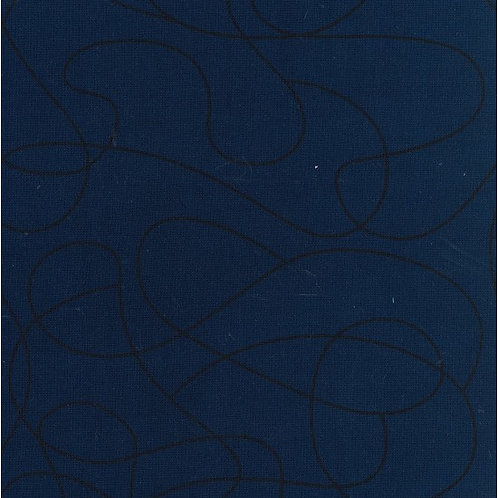 Quilting Cotton - Nutex - Squiggle Wide  - 78560 - Navy - 108
