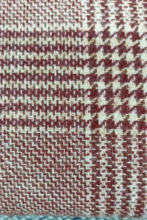 Dress Fabric - Wool - Houndstooth Check - Burgundy And Cream