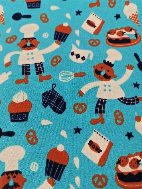 Lillestoff - Organic Cotton - Bakery Fun Pretzel  - Blue, White And Brown