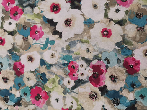Quilting Cotton - Floral Print - White And Multi