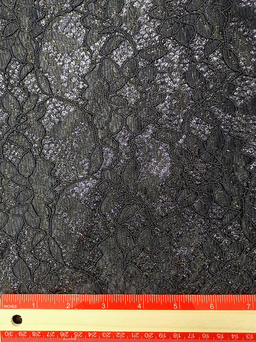 Dress Fabrics - Satin Backed Lace - Navy Blue With Subtle Glitter - OC 100/119