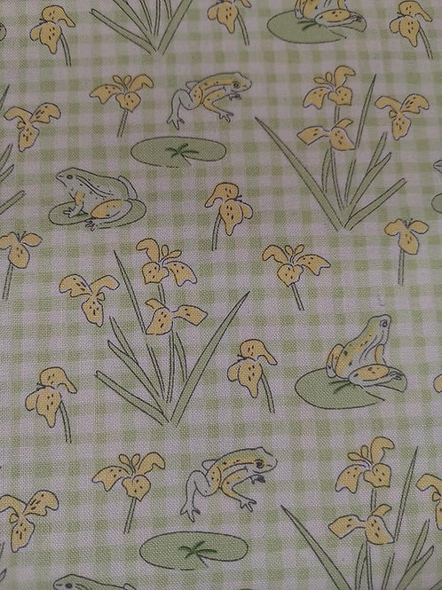 Quilting Cotton - Frogs On Gingham - White, Green And Yellow
