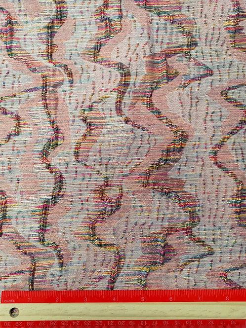 Dress Fabrics - Woven Polyester - Missoni Inspired Pink And Rainbow - OC 100/121