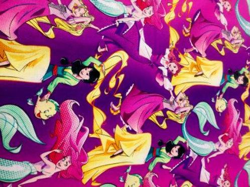 Quilting Cotton - Nutex - Pink Princesses - 10001 - 101 - Princess Print Pink