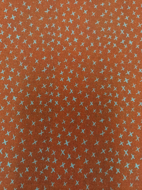 Lillestoff - Organic Cotton summersweat Jersey - Cross Print - Pumpkin Orange