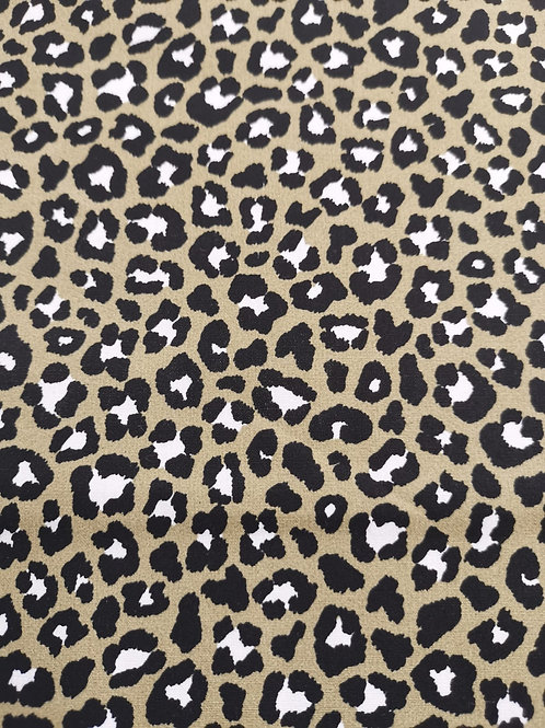 Cotton Poplin - Leopard Print - taupe grey And Multi