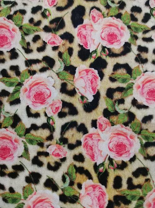 Remnant - 100% Cotton - Floral & Leopard Print - 1 Meter