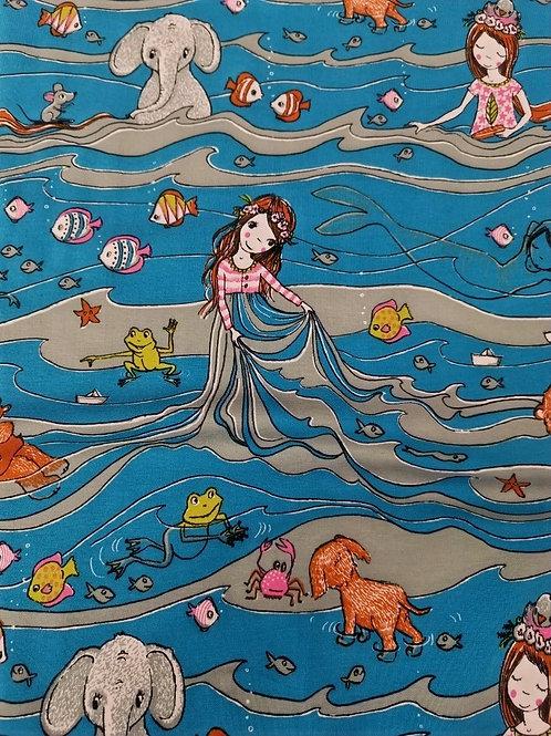 Lillestoff - Organic Cotton - Girl And The Sea - Blue And Multi Print